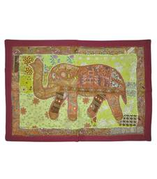 Lal Haveli Cotton Elephant Embroidered Mirror Work wall Hanging Work 27 By 38 Inches