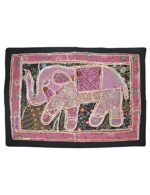 Lal Haveli Heavy Embroidery Mirror Work Elephant wall Hanging Tapestry 27 By 28 Inches