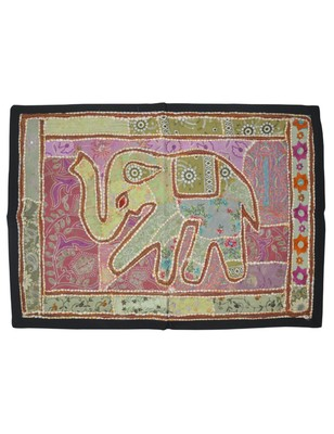 Lal Haveli Elephant Design wall Hanging Tapestry Mirror Embroidery Work 26 X 37 Inches