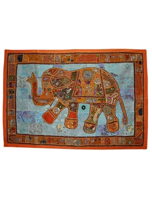 Home Decorative Designer Embroidered Elephant Art Work Tapestry