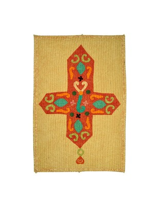 Lal Haveli Multicolor Decorative Cotton Fabric Kantha Work Cross wall Hanging 53 X 34 Inch