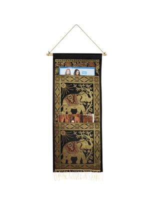Lal Haveli Decorative Handmade Elephant Design wall Hanging Black Color 2 pocket 24 X 10 Inch