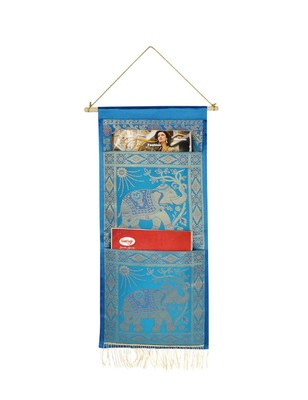 Lal Haveli Ethnic Elephant Design Home Decorative wall Hanging Turquoise Color 2 pocket Organiser 24 X 10 Inch
