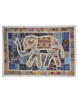 Indian Handcrafted Traditional Embroidery Design Elephant Work Cotton Wall Tapestry