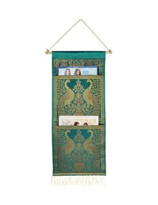 Lal Haveli Handmade Elephant Design Living Room Decorative wall Hanging 2 pocket Green Color 24 X 10 Inch