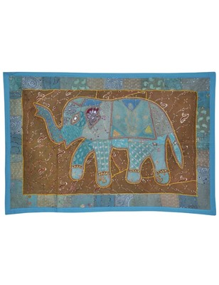 Indian Handmade Elephant Work Embroidery Design Cotton Wall D  cor Tapestry
