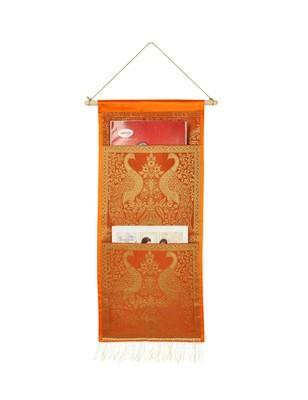 Lal Haveli Indian Elephant Design wall Hanging 2 pocket Orange Color 24 X 10 Inch