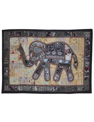 Indian Elephant Art Wall Hanging Embroidery Design patchwork Cotton Tapestry