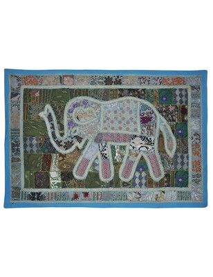 Embroidery Design patchwork Vintage Elephant Art Work Cotton Wall Tapestry