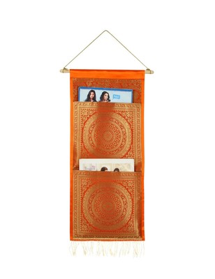 Lal Haveli Handmade Diningroom Decorative wall Hanging 2 pocket Orange Color 24 X 10 Inch