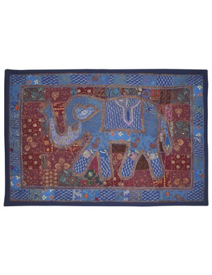Designer Embroidered patchwork Home Decorative Elephant Work Cotton Wall Tapestry