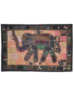 Ethnic Handmade Embroidery Design Elephant Work Cotton Wall D  cor Tapestry