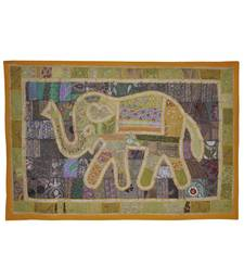 Elegant Handmade Elephant Art Work Embroidery Design Cotton Wall Tapestry