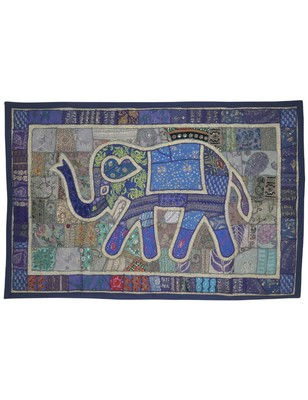 Traditional patchwork Embroidery Design Elephant Work Cotton Wall Hanging