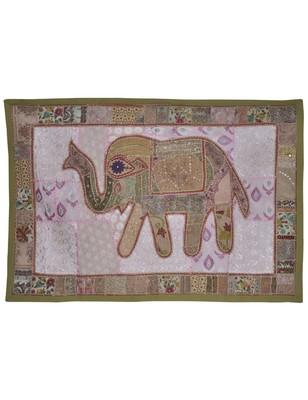 Ethnic Handmade Elephant Work Cotton Wall D  cor Tapestry 101 X 152 Cm