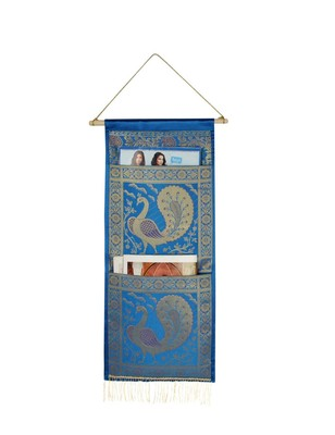Lal Haveli Handmade Pecock Design wall Hanging 2 pocket Turquoise Color 24 X 10 Inch