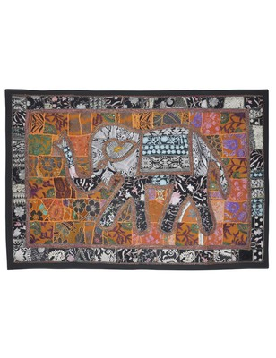 Indian Decorative Embroidery Design Handmade Elephant Work Cotton wall Hanging