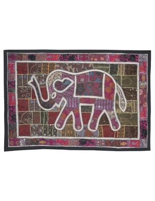 Rajasthani Handmade Elephant Work Cotton wall Hanging 101 X 152 Cm