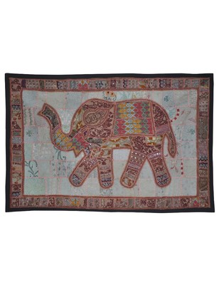 Traditional Home Decorative Elephant Work Design Vintage Cotton wall Hanging