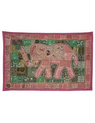 Traditional Handmade Embroidered patchwork Design Cotton Elephant Wall Hanging