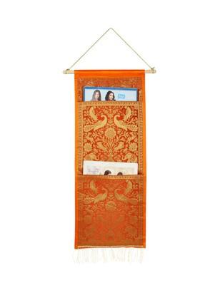 Lal Haveli Ethnic Handmade Elephant Design Office Supplies Storage Two Pocket Orange Color 24 X 10 Inch
