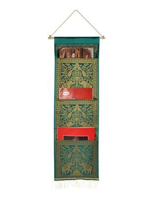 Lal Haveli Home Decorative Elephant Design wall Hanging 3 pocket Green Color Housewarming Gift