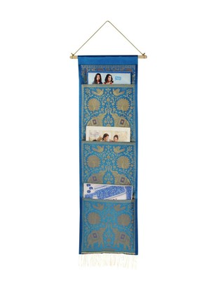 Lal Haveli Home Decorative Elephant Design wall Hanging 3 pocket Turquoise Color 34 X 10 Inch