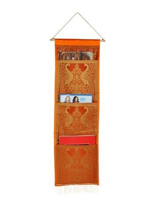 Lal Haveli Peacock Design Magazine Holder 3 Pocket Orange Color 34 X 10 Inch