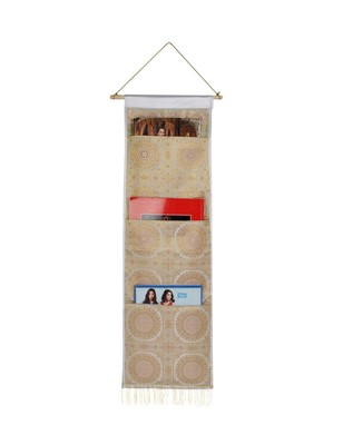 Lal Haveli Diningroom wall Hanging 3 pocket White Color 34 X 10 Inch