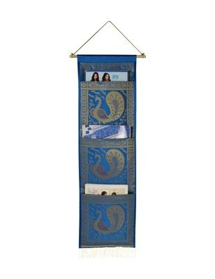 Lal Haveli Decorative Peocock Design wall Hanging 3 pocket Turquoise Color 34 X 10 Inch
