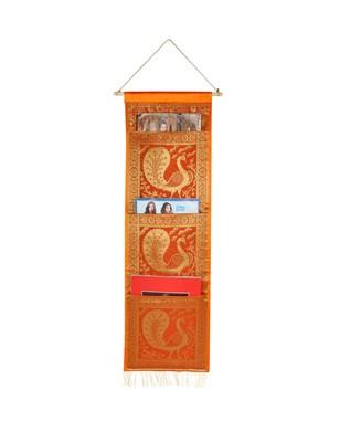 Lal Haveli Designer Embroided Peocock Design wall Hanging 3 pocket Orange Color 34 X 10 Inch