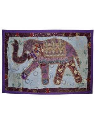 Ethnic Decorative Embroidered Wall Decor Elephant Work Cotton Tapestry