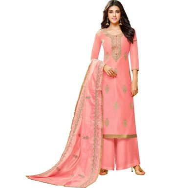 Pink Chanderi Women's Palazzo Suit With Heavy Embroidered Dupatta