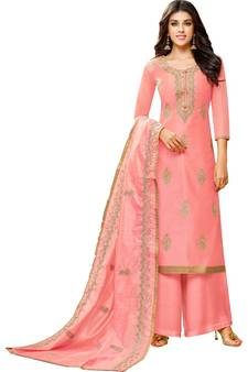 b6c78688b61 Pink Chanderi Women's Palazzo Suit With Heavy Embroidered Dupatta. Shop Now