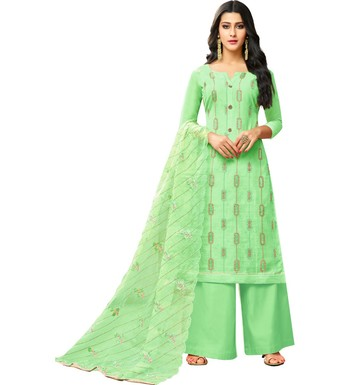 Light Green Chanderi Women's Palazzo Suit With Heavy Embroidered Dupatta