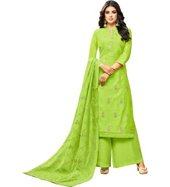 47b04f5fb4 Parrot Green Chanderi Women's Palazzo Suit With Heavy Embroidered Dupatta