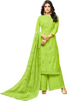 aad86a06ca Parrot Green Chanderi Women's Palazzo Suit With Heavy Embroidered Dupatta