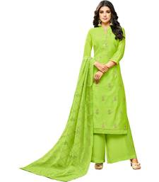 Parrot Green Chanderi Women's Palazzo Suit With Heavy Embroidered Dupatta