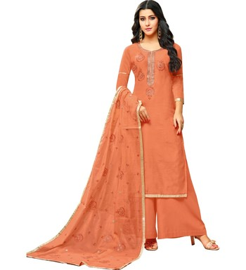 Peach Chanderi Women's Palazzo Suit With Heavy Embroidered Dupatta