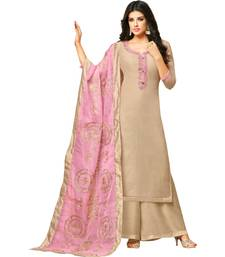 Beige & Pink Chanderi Women's Palazzo Suit With Heavy Embroidered Dupatta