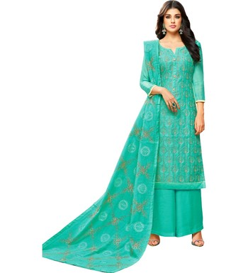 Turquoise Chanderi Women's Palazzo Suit With Heavy Embroidered Dupatta