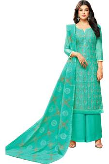 2b0315a1d8 Turquoise Chanderi Women's Palazzo Suit With Heavy Embroidered Dupatta. Shop  Now