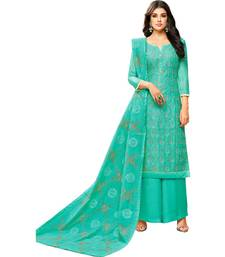 Buy Turquoise Chanderi Women's Palazzo Suit With Heavy Embroidered Dupatta palazzo online