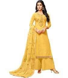 Yellow Chanderi Women's Palazzo Suit With Heavy Embroidered Dupatta