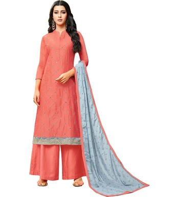 Peach & Grey Chanderi Women's Palazzo Suit