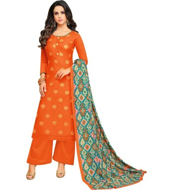 Orange & Turquoise Satin Cotton Foil Print Women's Dress Material