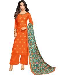 Buy Orange & Turquoise Satin Cotton Foil Print Women's Dress Material palazzo online