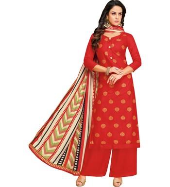 Red & Cream Satin Cotton Foil Print Women's Dress Material