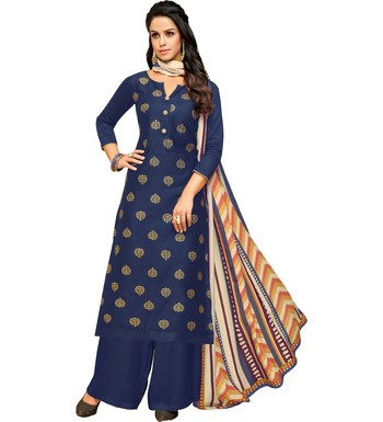 Blue & Cream Satin Cotton Foil Print Women's Dress Material