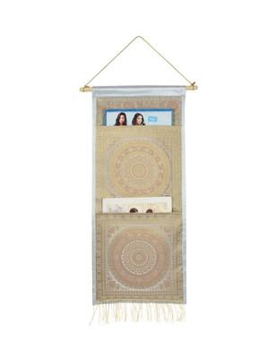 Lal Haveli Handmade Silk Office Suppiles Storage Magazine Holder 2 Pocket Grey Color 24 X 10 Inch